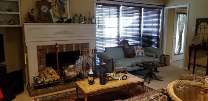 Duncan sofa, tray table and painted French Provencal coffee table