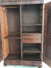 inside armoire, have 2 extra shelves for left side