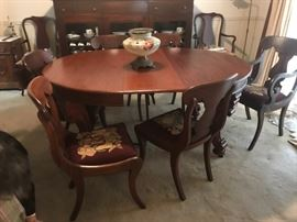 Dining table, Francis Harrington of Boston, has extra leaves, with chairs, large hand painted centerpiece bowl