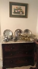 antique marble top Rosewood Victorian chest, set of Rose Medallion cups and saucers