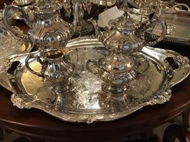 Gorham Chantilly silver coffee and tea service with tray
