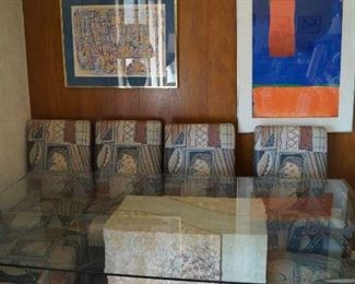 mid century glass table on pedastals, chairs