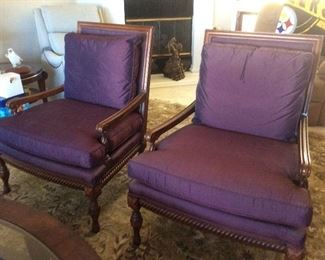 Pair, upholstered purple chairs