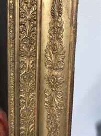 Detail of antique carved  gilt frame