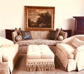Fabulous sofa and suite of velvet loveseats and ottoman