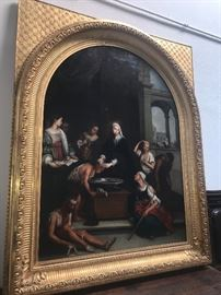 "Antique large oil  70""x 57""St. Elizabeth de Hungari, annointing the sick, Continental school"
