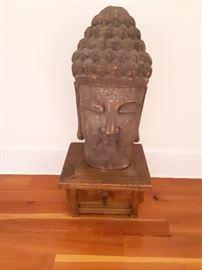 Amazing   very large  solid wood Buddha head