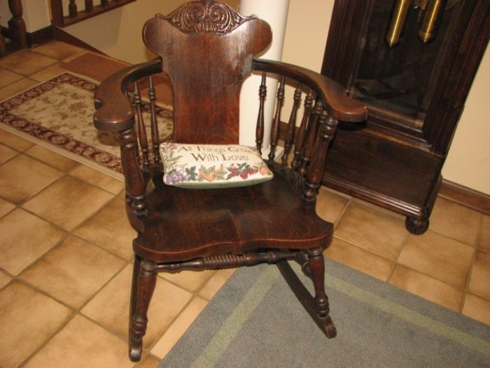 Antique panel-backed rocker