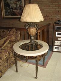 Glass top (with stone perimeter) side table;