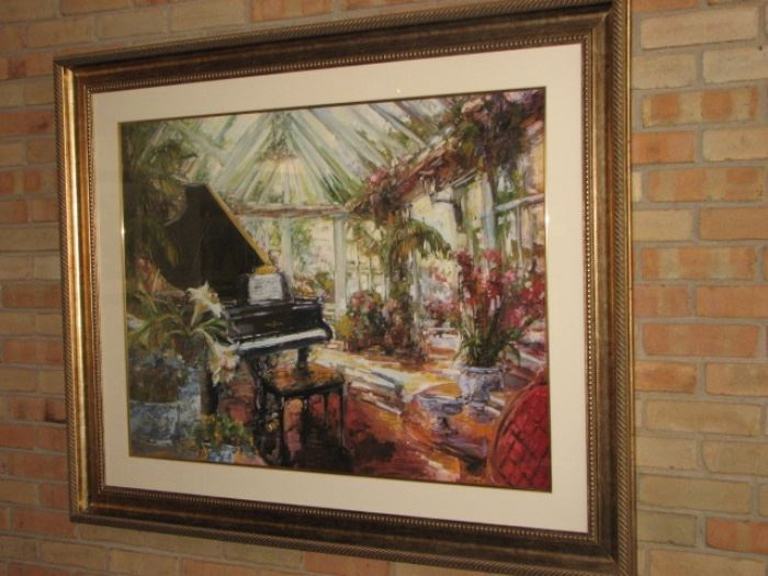 Garden house scene with baby grand piano