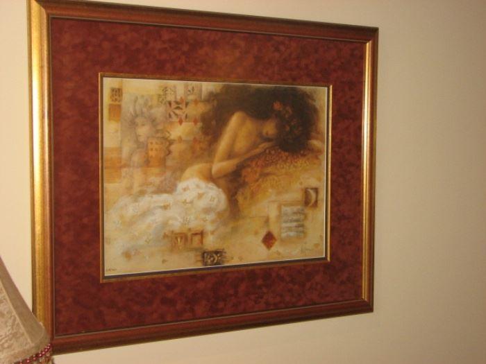 Framed art - nude reclining
