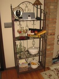 Bakers' rack with bar / entertaining wares