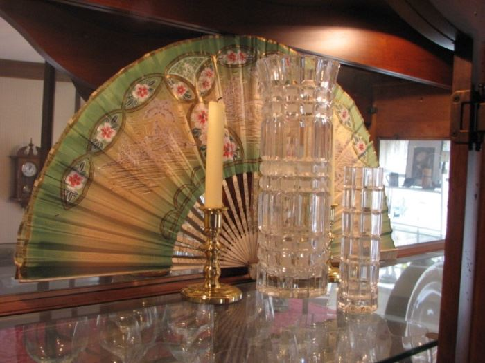 Chinese fan, American cut glass