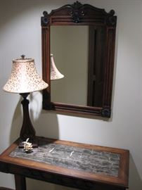 marble topped hall table with matching mirror