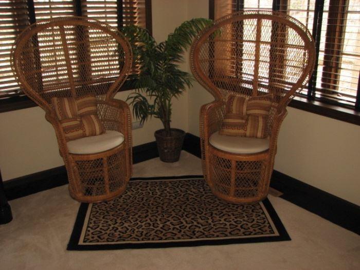 Peacock wicker chairs, cheetah rug
