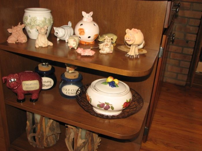 collection of piggy banks and figurines