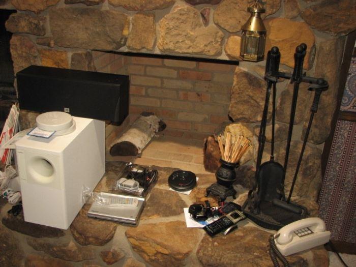 vintage electronics, fireplace tools