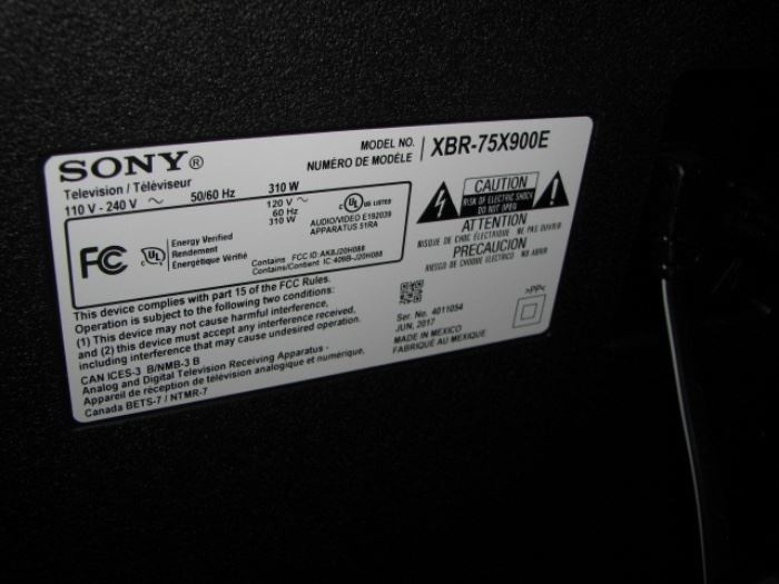 "75"" Sony Bravia television"
