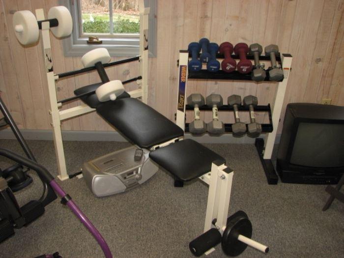 weight bench, dumbells