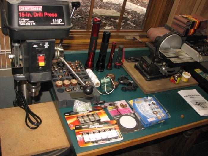 "15"" drill press, belt sander"