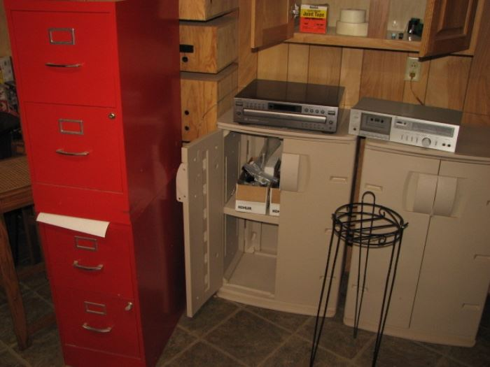 red file cabinets, vintage electronics
