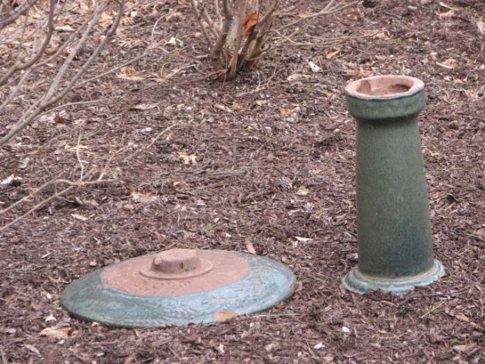 vintage pottery birdbath