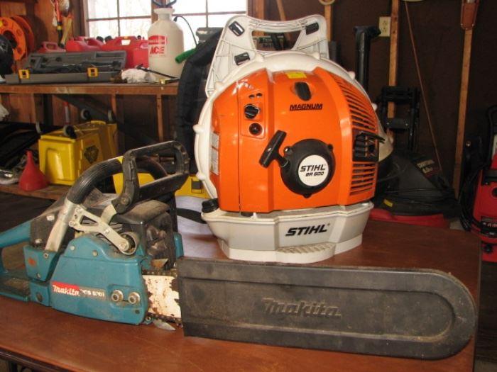 Stihl Magnum leaf blower, Makita chainsaw