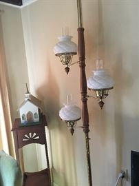 One room church (handmade), Plant stand with sunrays cut outs and pole lamp with quilted lamp shades and chimney
