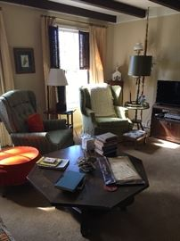 Octagonal Spanish style Drexel coffee table and other comfy cozy 70's furnishings