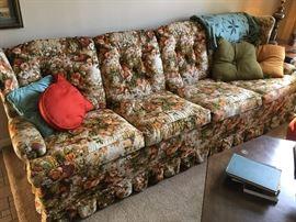 70's floral print sofa