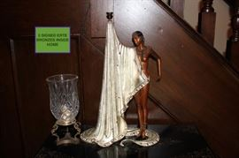 There are 3 Bronze Erte Statues, one pictured here with Candle Holder