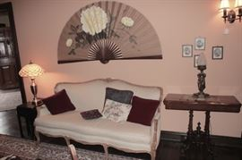 Quality Furnishings and Decorative Items - Sofa, Decorative Pillows, Lamps, Occasional Tables and Large Decorative Fans
