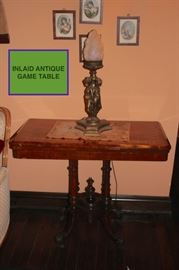 Inlaid Antique Game Table with Small Portrait Art and Vintage Lamp