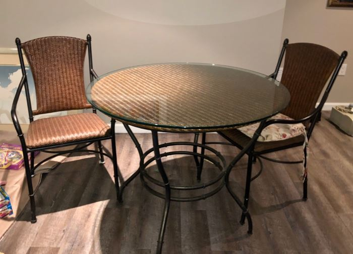 Small glass top table & two chairs