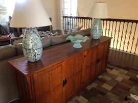 High End Storage Cabinet / Media Center with Murano Glass made in Italy and Decorative Lamps.