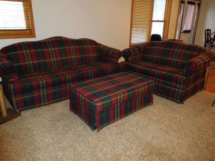 flexsteel sofa, loveseat, ottoman