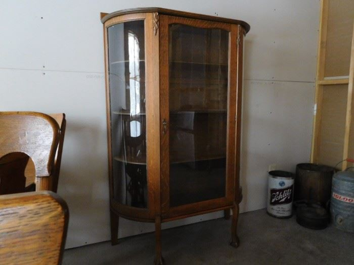 antique oak curio with claw feet