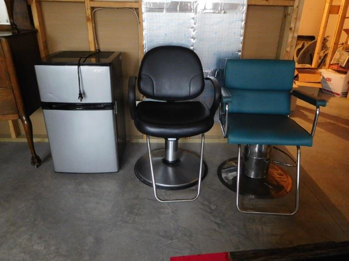 Hair stylist chairs, dorm refrigerator