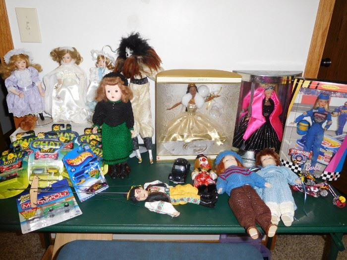 Vintage dolls, holiday and racecar barbie