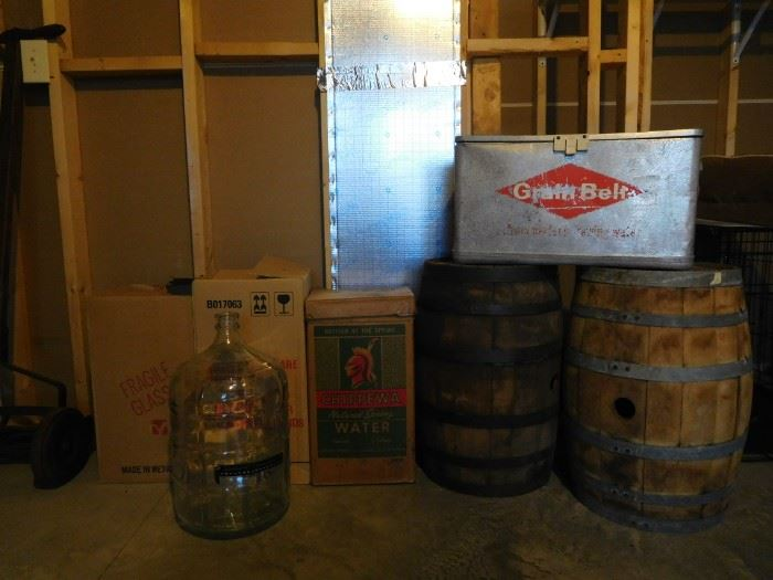 4 glass carboys, 2 oak barrels for wine making, vintage grain belt cooler