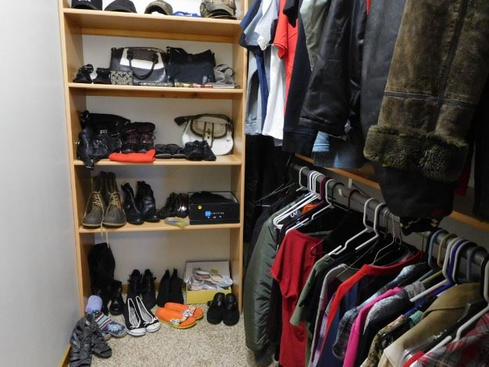 Coach purses, misc clothes, several women size 9-10 shoes