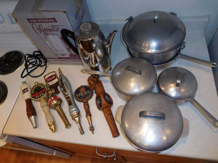 Vintage coffeematic, heavy cast aluminum pots & pans, beer taps