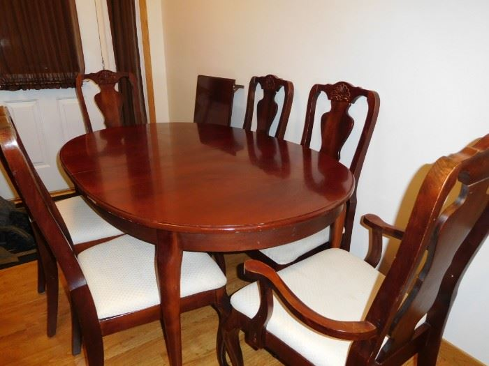 Cherry table with leaf, 6 chairs