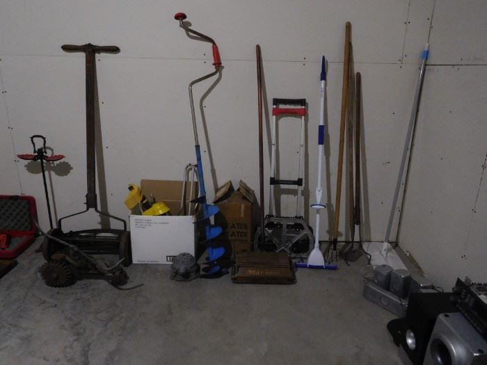 traveling sprinkler, antique push mower, seat heater, bissell sweeper