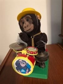 Monkey playing drum