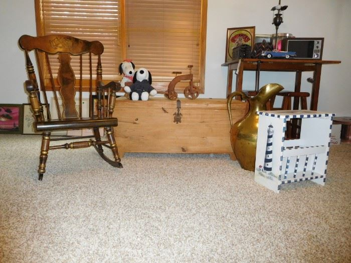 Bicentennial Rocking Chair, Chest, Brass Vase, Lighthouse table