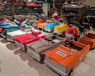 Vintage pedal cars include 1930's -1960's professional restorations and customs by Bob Olson.