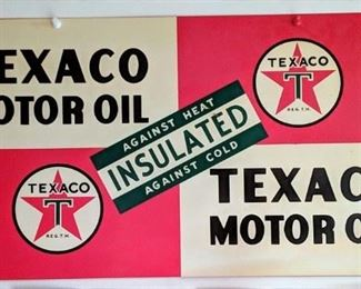 1947 Double Sided Texaco Insulated Motor Oil Sign