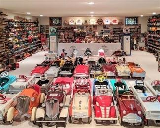 Over 100 pedal cars; including vintage professionally restored cars! Featuring very scarce cars that rarely come up for sale.
