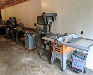 """•Ridgid 10"""" Professional Table Saw •Sears/Craftsman 15.5"""" Drill Press Floor/Stand •(2) Sears/Craftsman 12"""" Band Saw/Sander w/Stand •Delta 6"""" Professional Jointer •Delta 6"""" Belt/9"""" Disc Sander w/Stand •DeWalt DW713 10"""" Compound Miter Saw w/Stand •Delta BOSS Bench Oscillating Spindle Sander w/Stand •Sears/Craftsman 10"""" 2.5HP Table Saw •Craftsman Hollow Chisel Mortiser •Sears/Craftsman Bench Top Shaper/Router •Rockwell Table Jig Saw •Craftsman 16"""" Variable Speed Scroll Saw"""